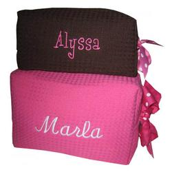 Monogrammed Waffle Weave Spa Cosmetic Bag