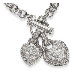 Double CZ Hearts and Sterling Silver Toggle Necklace