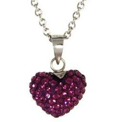 Dazzling Amethyst Swarovski Crystal Purple Heart Pendant