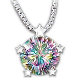 My Amazing Daughter Fireworks Rainbow Topaz Pendant Necklace