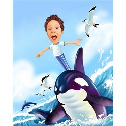 Boy Surfing with Dolphin Custom Photo Caricature