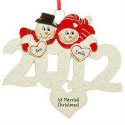 2012 Snow Couple First Married Christmas Ornament