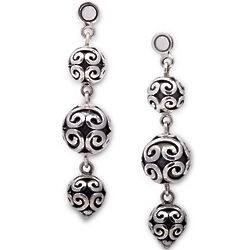 Exotic Sterling Silver Bead Drop Earrings