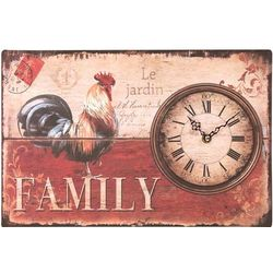 Family Wall Clock with Rooster