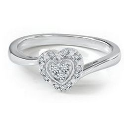 Diamond Heart Sterling Silver Ring