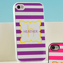 Personalized White Modern Stripes iPhone Case