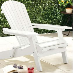 White Painted Simple Adirondack Patio Chair