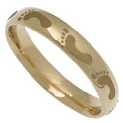 14 Karat Gold Footprints Band