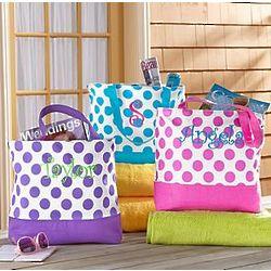 Personalized Polka Dot Tote Bag