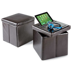 Folding Ottoman with Tablet Stand