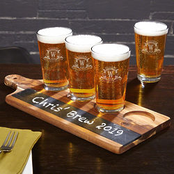 Personalized Westbrook Pint Glasses and Chalkboard Serving Paddle