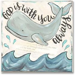 """God Is With You Always Whale and Verse 10"""" Canvas Print"""
