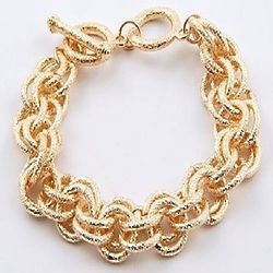 Milano Style Golden Multiple Ring Textured Link Bracelet