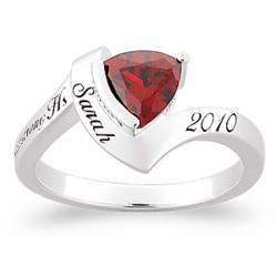 Sterling Silver Trillion Birthstone Class Ring