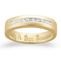 18K Gold Over Sterling Engraved Cubic Zirconia Wedding Band