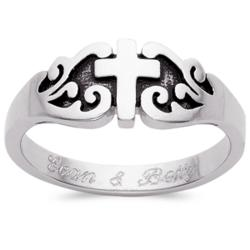 Sterling Silver Engraved Purity Cross Ring