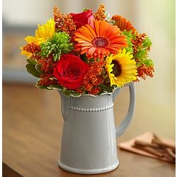 Harvest Spice Floral Bouquet in Ceramic Pitcher Vase