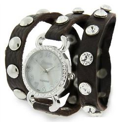 Brown Leather Cubic Zirconia Studded Wraparound Watch
