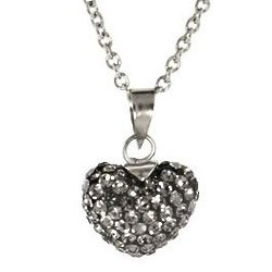 Gray Crystal Heart Pendant