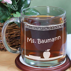 Engraved Teacher Glass Mug
