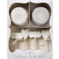 Classic White Floral Wedding Party Cupcake Kit