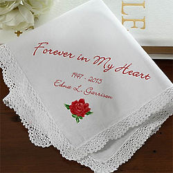 Forever In My Heart Personalized Memorial Linen Handkerchief