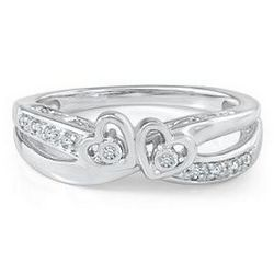 Diamond Accent Double Heart Sterling Silver Ring
