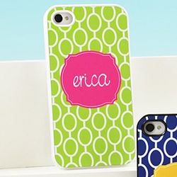 Personalized White Mod Circles iPhone Case