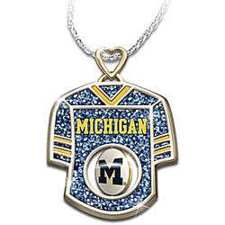 Michigan Wolverines Engraved Jersey Pendant