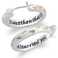 Sterling Silver Two-Tone Footprints Hoop Earrings