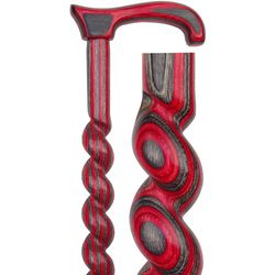 Red and Black Birchwood Spiral Rope Derby Handle Walking Cane