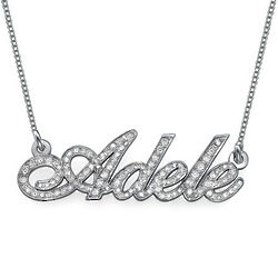 All Diamond 14 Karat White Gold Personalized Name Necklace