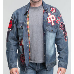 Men's Indigo Stonewash Sport Patch Denim Jacket