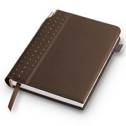Debossed Medium Brown Leatherette Journal