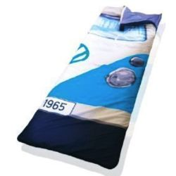 Volkswagn Bus Sleeping Bag and Throw Blanket in Blue
