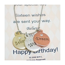 Believe Wish Dream Birthday Necklace