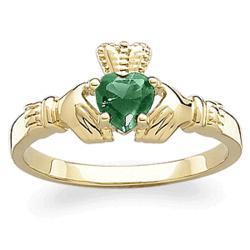 10K Gold Birthstone Claddagh Ring