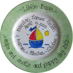 Little Boys Hand Painted Baby Birth Plate