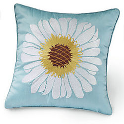 Embroidered Daisy Pillow