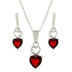 Delicate Red Cubic Zirconia Heart Earrings and Necklace