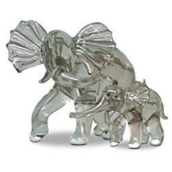 Mother and Baby Elephant Crystal Figurines