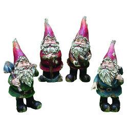 Four Garden Gnome Statues