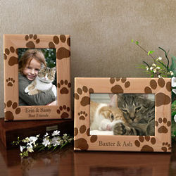 Personalized Kitty Paw Prints Wooden Picture Frame
