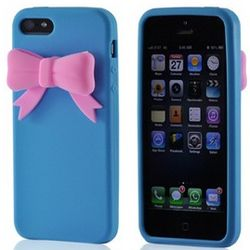 Baby Blue with Pink Bow Premium Silicone iPhone 5 Case