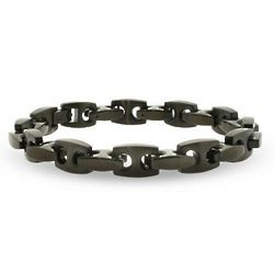 Men's Black Stainless Steel Puffed Anchor Link Bracelet