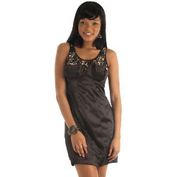 Glitzy Sequined Satin Party Dress