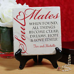 Personalized Found Soul Mates Tumble Stone Plaque