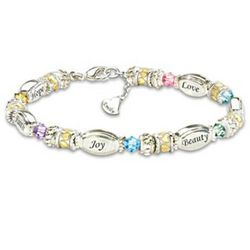 Daughters Sparkling Wishes Bracelet with Name-Engraved Charm