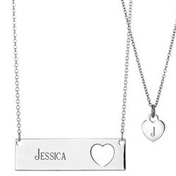 Engravable Mother and Daughter Name Bar Pendant Set