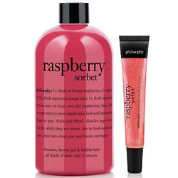 Raspberry Sorbet Shampoo, Shower Gel & Bubble Bath, Lip Shine Set